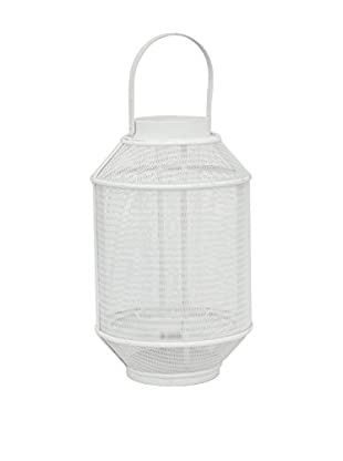 Three Hands Metal and Wood Lantern, White