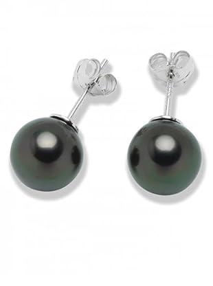 Perldor Ohrstecker Sterling Silber Muschelkernperlen schwarzgrün 60650085