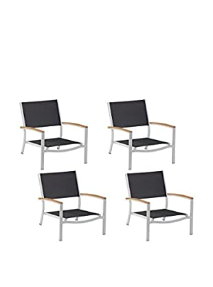 Oxford Garden Travira Set of 4 Beach Chairs, Black/Teak/Aluminum