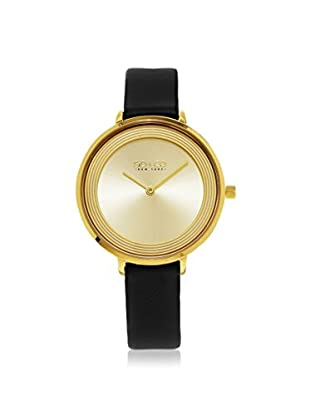 SO&CO Women's 5204L.3 Madison Black/Gold-Tone Leather Watch