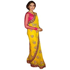 Bipasha Basu Yellow And Pink Saree At Airtel Superstar Award