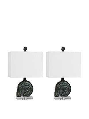 Couture Lamps Set Of 2 Nautilus Accent Lamps, Silver