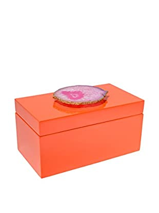Mapleton Drive Orange Lacquer Box with Pink Agate