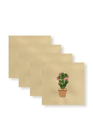 Henry Handwork Set of 4 Prickly Pear Embroidered Hand Towels, Natural
