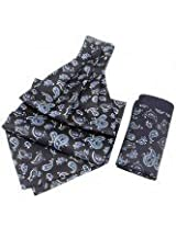 Classic Paisley Cravat In Navy Sky With Pocket Square