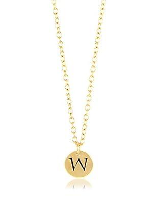 Ettika 18K Gold-Plated W Initial Charm Necklace