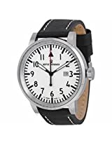 Revue Thommen Air Speed White Dial Black Leather Mens Watch 16053.1532