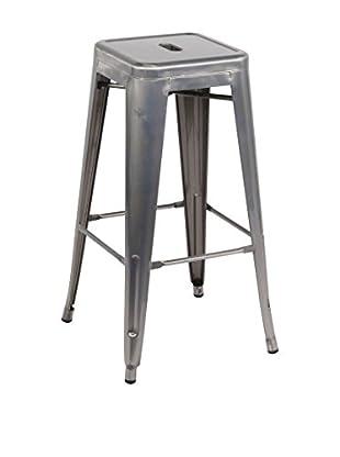 LO+DEMODA Set Taburete de bar 2 Uds. Hight Ural Metal Gris
