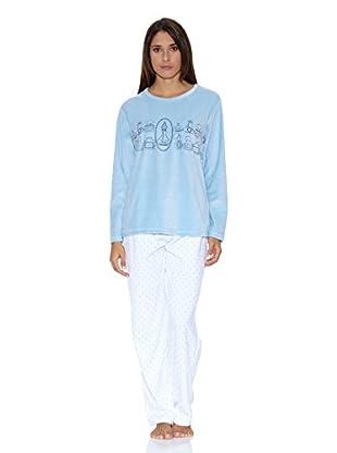 Muslher Pijama Señora Con Cuello Redondo Estampado  Cocina Y Pantalon Estrella (Cielo)