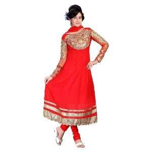 Silk Bazar Unstitched Salwar Suit - Red