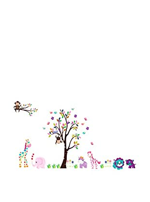 LO+DEMODA Vinilo Decorativo Color Tree And Animals Multicolor