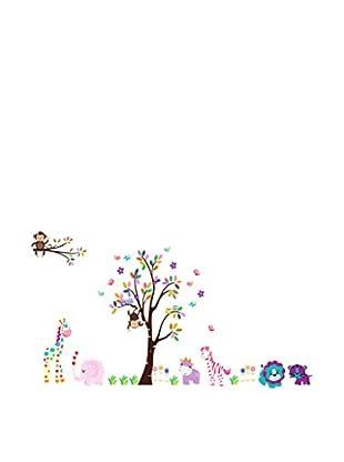 LO+DEMODA Vinilo Decorativo Color Tree And Animals Multicolor
