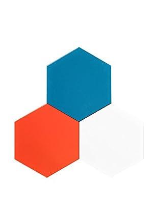 Nine6 Design Set of 3 Magnetic Dry Erasable Wall Panels, Turquoise/Orange/White