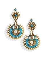 Blue Stone N Pearl Dangler Earrings