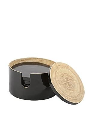 Core Bamboo Glossy Finish 7-Piece Round Bamboo Coaster Set (Onyx)