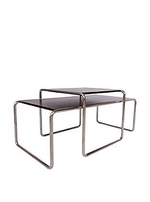 LeisureMod Malvern Nesting Coffee Table, Black