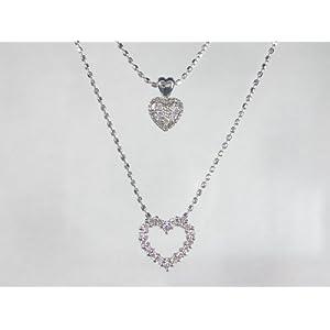 【クリックで詳細表示】(オールジュエリープレミアム) Alljewelry Premium K18WG ホワイトゴールドダイヤモンド ハート ペンダント ネックレス AJSI00313: ジュエリー通販