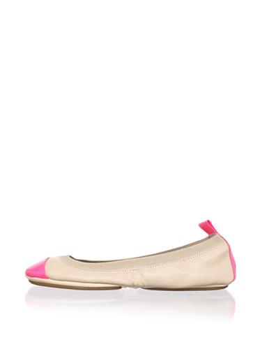 Yosi Samra Women's Two-Tone Ballet Flat (Nude/Pink)