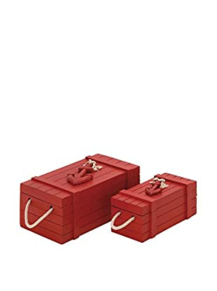 Set of 2 Wood Rope Boxes