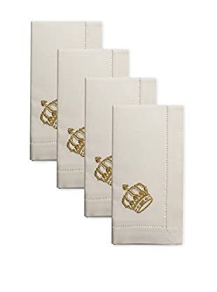 Henry Handwork Set of 4 Golden Crown Embroidered Napkins, Ivory