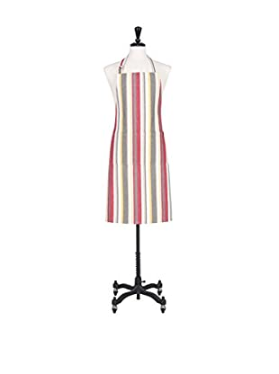 KAF Home Vintage-Stripe Apron, Pewter/Red