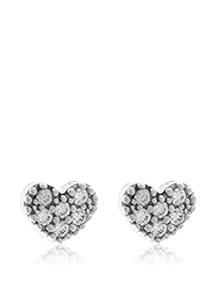 Gold & Diamonds Pendientes Corazon Plateado