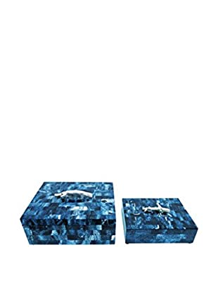 Couture Malibu Set of 2 Lapis Rectangular Boxes, Malibu Blue/Nickel