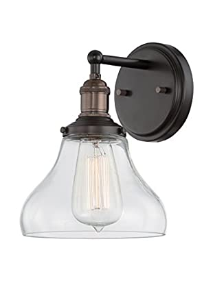 Nuvo Lighting Vintage 1-Light Vanity & Wall Sconce, Rustic Bronze/Clear