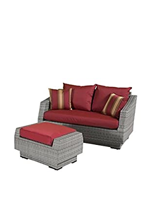 RST Brands Cannes Loveseat & Ottoman Set, Red