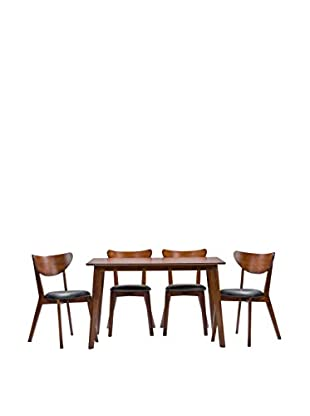 Baxton Studio Sumner Mid-Century Style 5-Piece Dining Set, Brown/Black