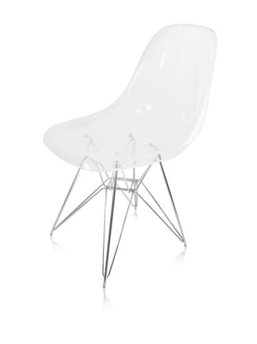 Acrylic Side Chair with Chromium Plated Eiffel Base