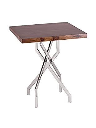 Artistic Stick Leggy Modern Side Table, Natural/Stainless Steel