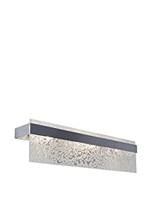 Varaluz Line Up! 3-Light Bath Fixture, Brushed Nickel, Recycled Water Spot Glass