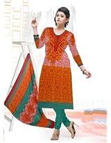Saara Orange And Green Printed Dress Material - 139D106