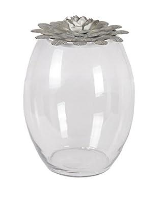 Privilege, Inc. Small Iron & Glass Jar, Grey