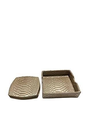 Kim Seybert Set of 6 Snake Skin Coasters, Gold