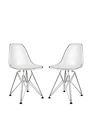 Modway Set of 2 Paris Kid's Chairs, Clear