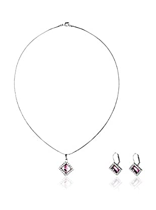 SWAROVSKI ELEMENTS Conjunto de collar y pendientes Rumble Rosa