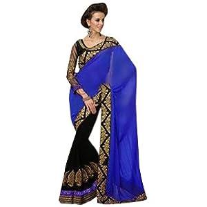 New blue half half party wear saree-Frinkytown