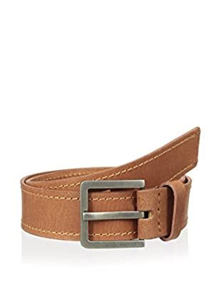 Calvin Klein Men's Harness with Engraved Logo 38mm Flat Strap Belt (Tan)