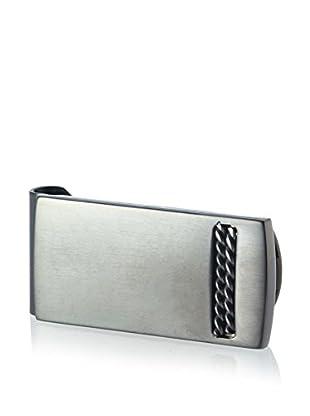BlackJack Brushed & Polished Black Stainless Steel Double Cable Design Money Clip