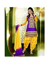 115411_Delightful Resham Embroidered Purple and Yellow Patiala Suit