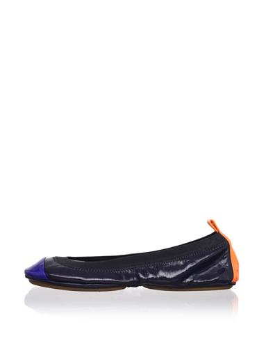 Yosi Samra Women's Colorblock Ballet Flat (Navy/Orange/Cobalt)