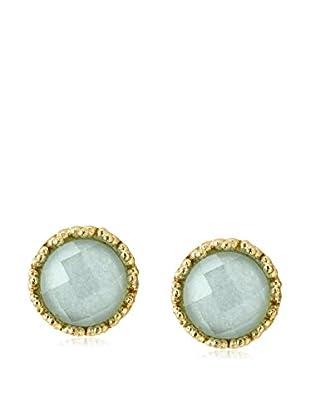 Rivka Friedman 18K Gold Clad Round Caribbean Blue Quartzite Stud Earrings