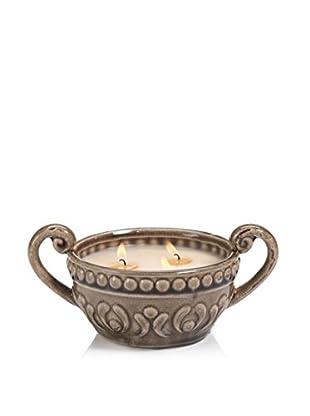Zodax Illuminaria Citronella Scented Candle Bowl, Taupe Dotted