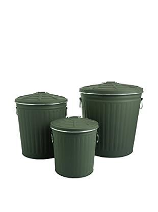 Viila D'Este Set Cubo De Basura 3 Uds. Tin Verde