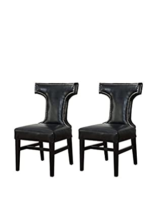 TOV Furniture Set of 2 Tee Leather Dining Chairs, Black