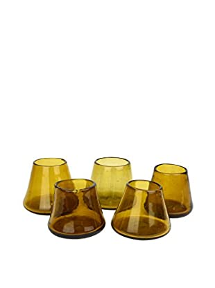 Uptown Down Previously Owned Set of 5 Small Hand Blown Drinking Glasses