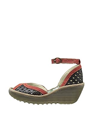 Fly London Sandalias Ydel (Negro / Rojo)
