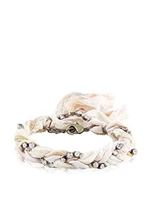 Ettika Multi Cream Braided Vintage Ribbon & Rhinestone Bracelet